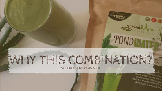 glass of pondwater: aloe vera and spirulina green powder | goodMix
