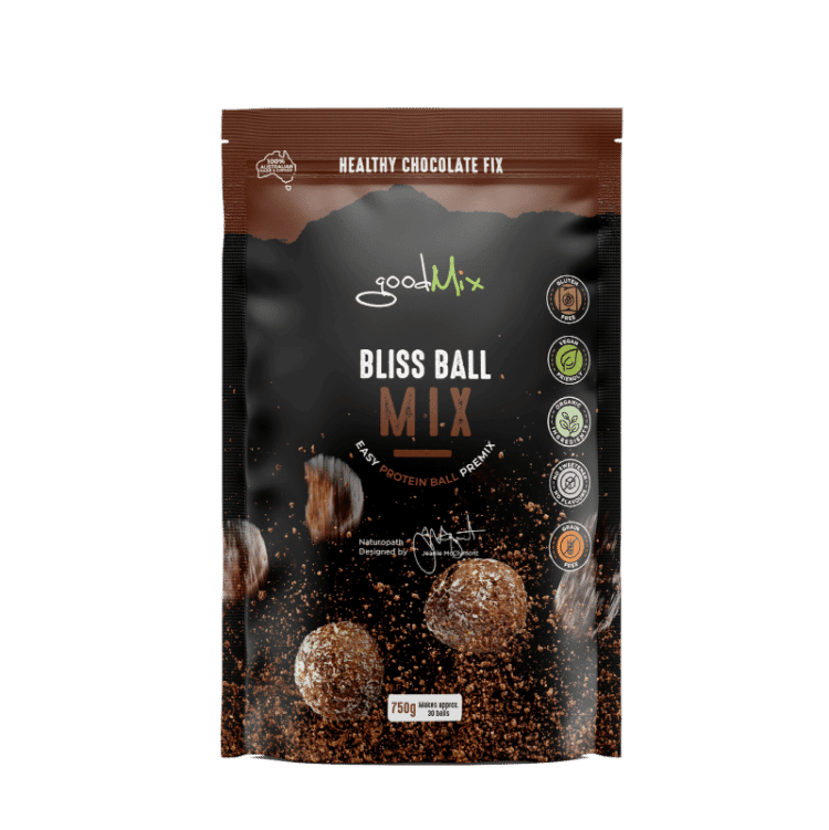 packet of bliss ball mix to make vegan protein bliss balls | goodmix